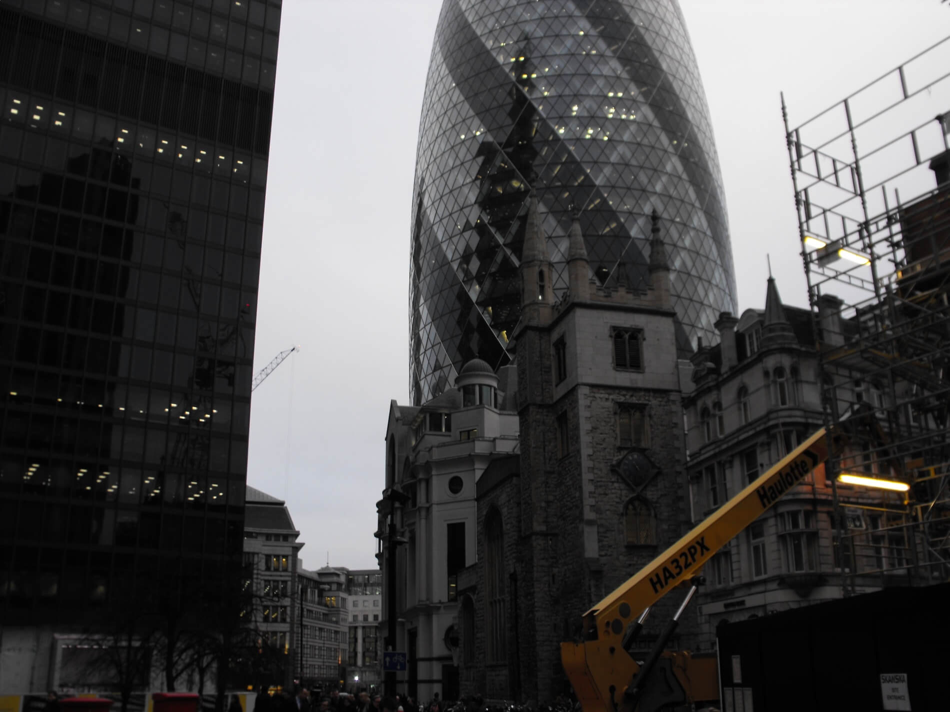 New, old and older buildings side by side in London financial district